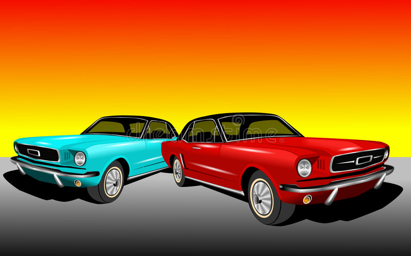 czerwony mustang cyan ilustracji
