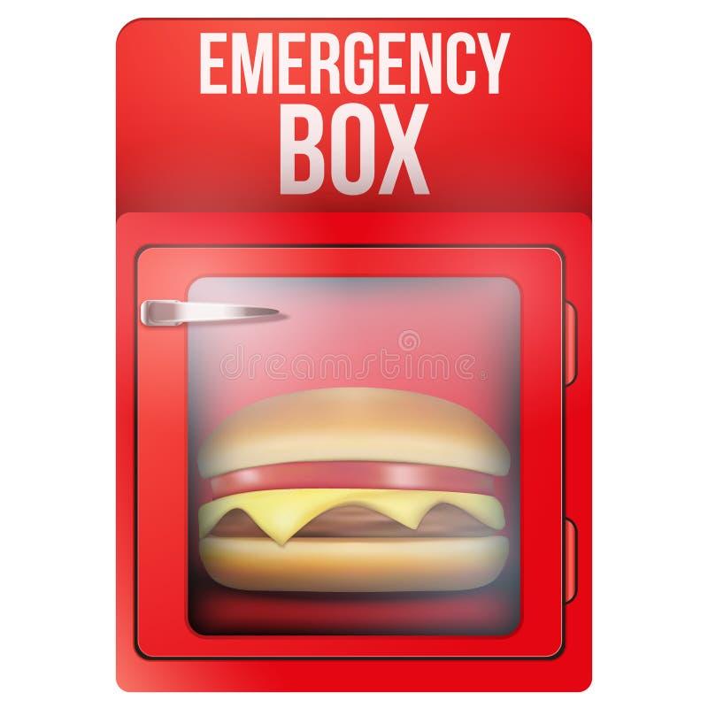 Czerwony nagłego wypadku pudełko z hamburgerem ilustracja wektor