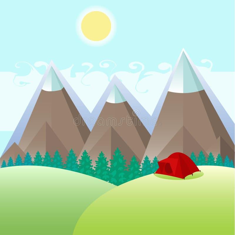 Czerwony namiot w lasowej haliźnie blisko gór ilustracja wektor