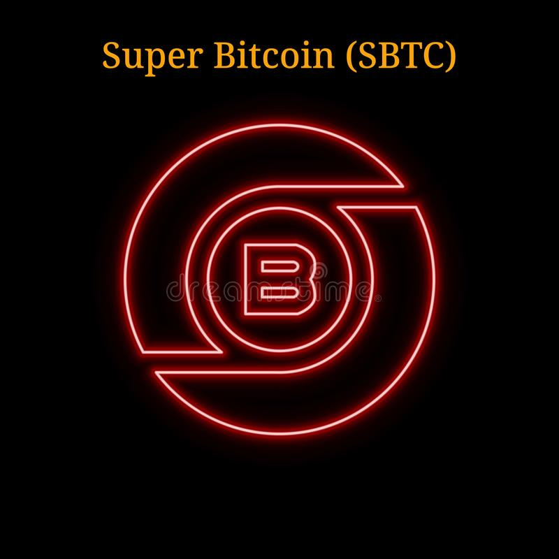 Czerwony neonowy Super Bitcoin SBTC cryptocurrency symbol ilustracji