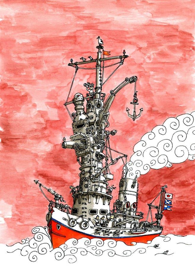 Czerwony niebo pancernik royalty ilustracja