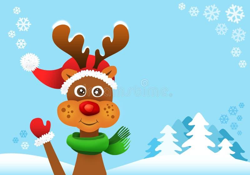 czerwony nos reniferowy Rudolf ilustracja wektor