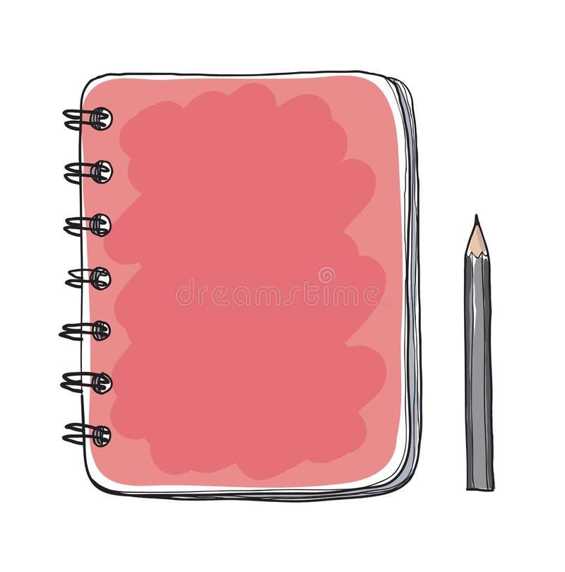 Czerwony notatnik i ołówkowa ręka rysująca rżnięta wektorowa sztuki ilustracja ilustracja wektor