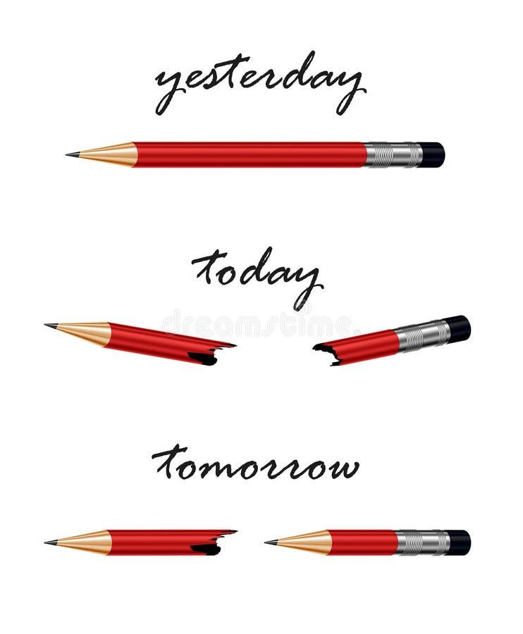 Czerwony ołówek z słowami jutro, dzisiaj i wczoraj, royalty ilustracja