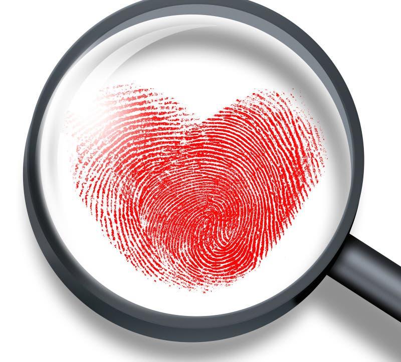 Czerwony odcisk palca w kierowym kształcie obrazy royalty free