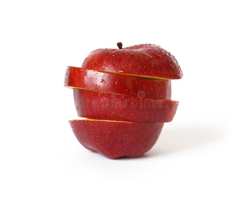 czerwony odosobnione dojrzałe jabłko white zdjęcia stock