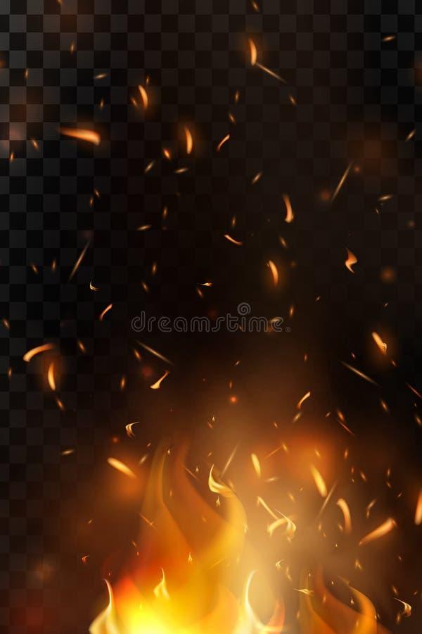 Czerwony ogień iskrzy wektorowego latanie up Płonące rozjarzone cząsteczki Płomień ogień z iskrami w powietrzu nad ciemną nocą ilustracji