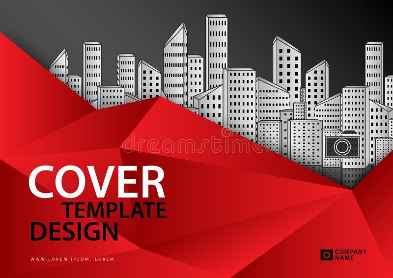 Czerwony okładkowy szablon dla biznesowego przemysłu, Real Estate, budynek, dom, maszyneria horyzontalny ilustracja wektor