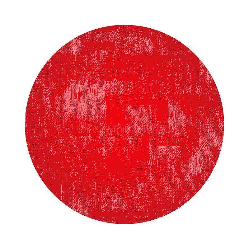 Czerwony okręgu grunge znaczek z pustym miejscem odizolowywającym na białym tle ilustracja wektor