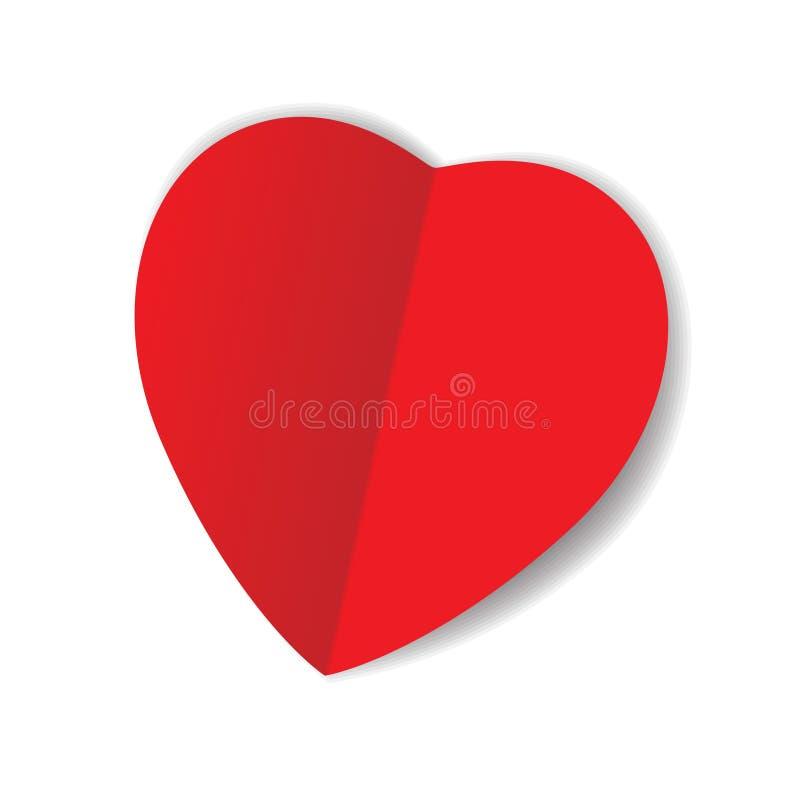 Czerwony origami papieru serce ilustracja wektor