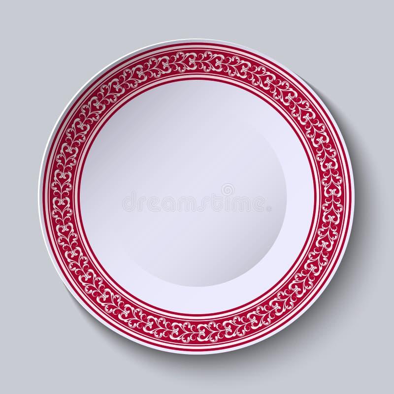 Czerwony ornament z kędziorami przy krawędzią ceramiczny naczynie Stylizowany Chiński porcelana obraz ilustracja wektor