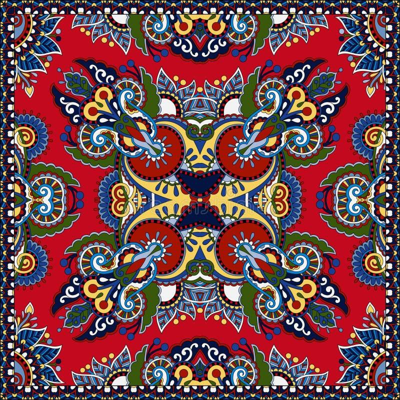 Czerwony ornamentacyjny kwiecisty Paisley bandanna royalty ilustracja