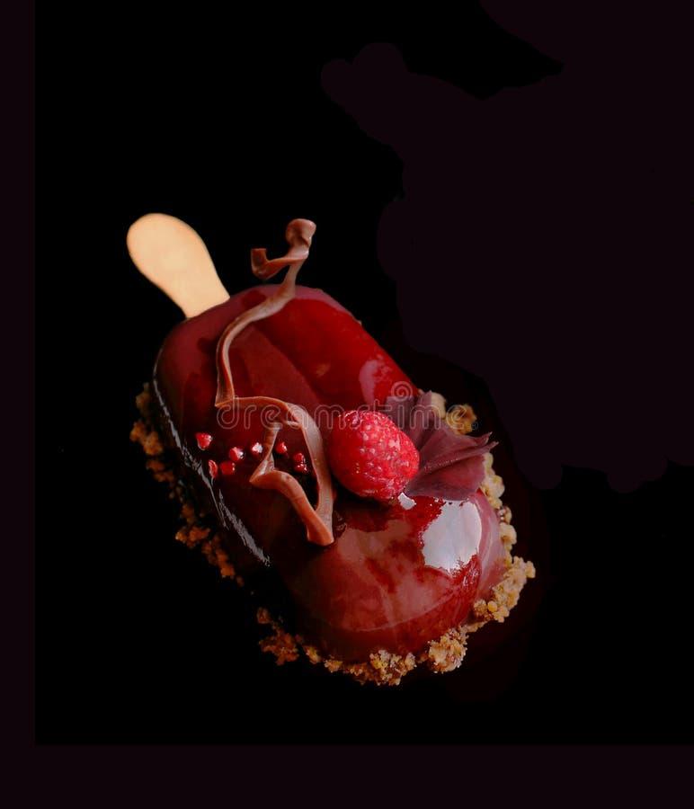 Czerwony owocowy gelato lody na kiju z malinką, czekoladową dekoracją i kwiatów płatkami, fotografia royalty free