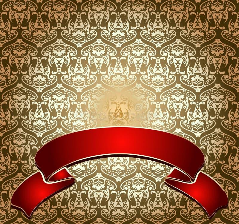 czerwony ozdobna banner złota ilustracji