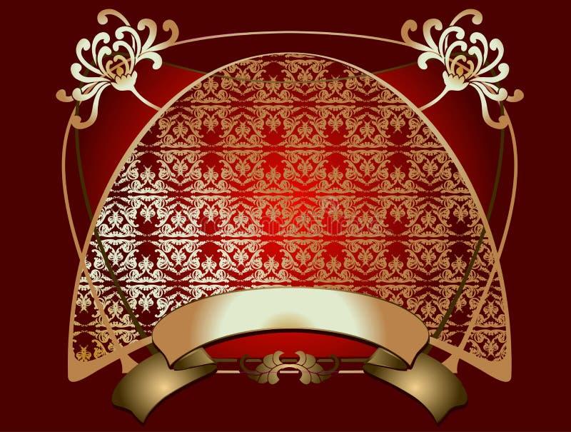 czerwony ozdobna banner złota ilustracja wektor