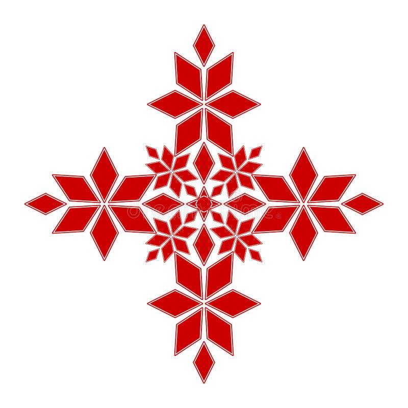 Czerwony płaski wektorowy geometryczny element dla dekoracji odizolowywającej; graficzny wektorowy szablon dla broderii, dzianie, ilustracji