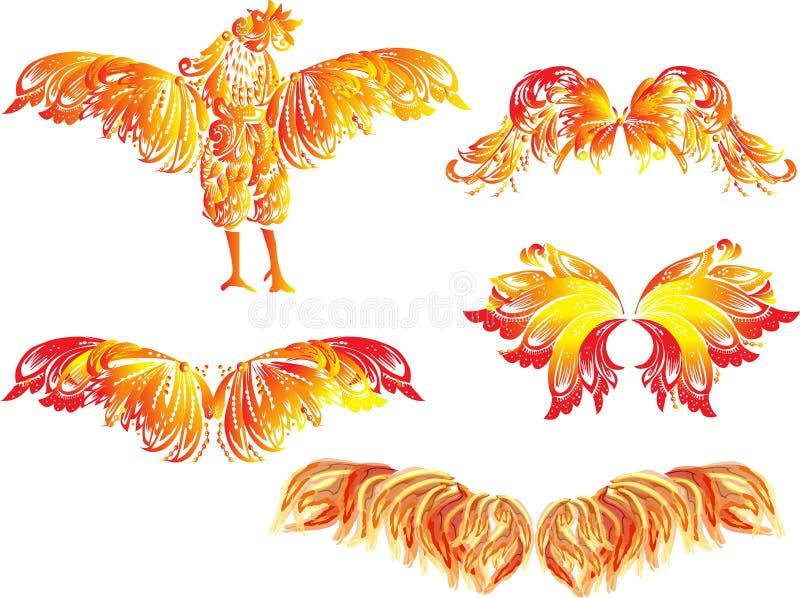 Czerwony płomienia kogut, skrzydła na bielu i ilustracja wektor