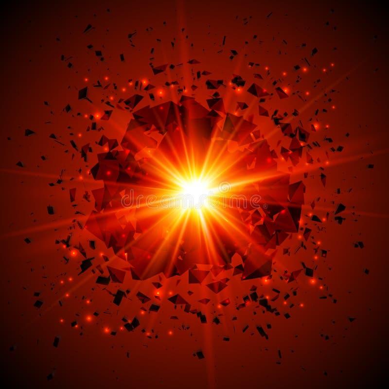 Czerwony płomienny wektorowy meteorowy pozaziemski wybuch ilustracja wektor