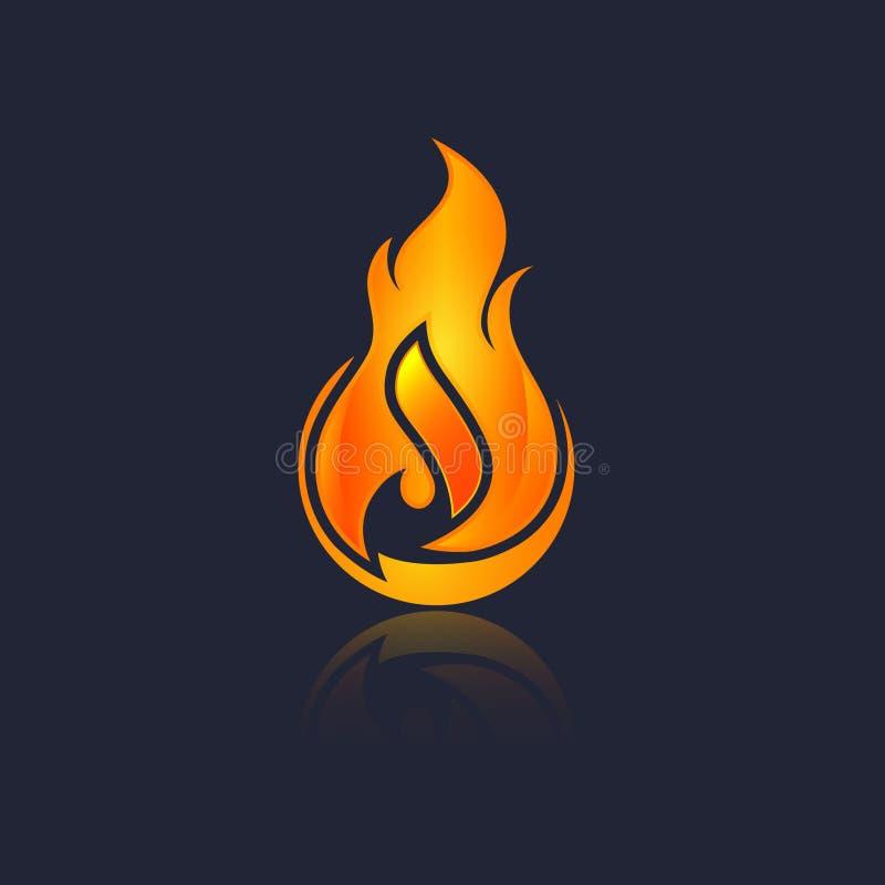 Czerwony palenie ogienia płomienia projekta wektoru szablon Oparzenie kuli ognistej pojęcia ikony paczka royalty ilustracja