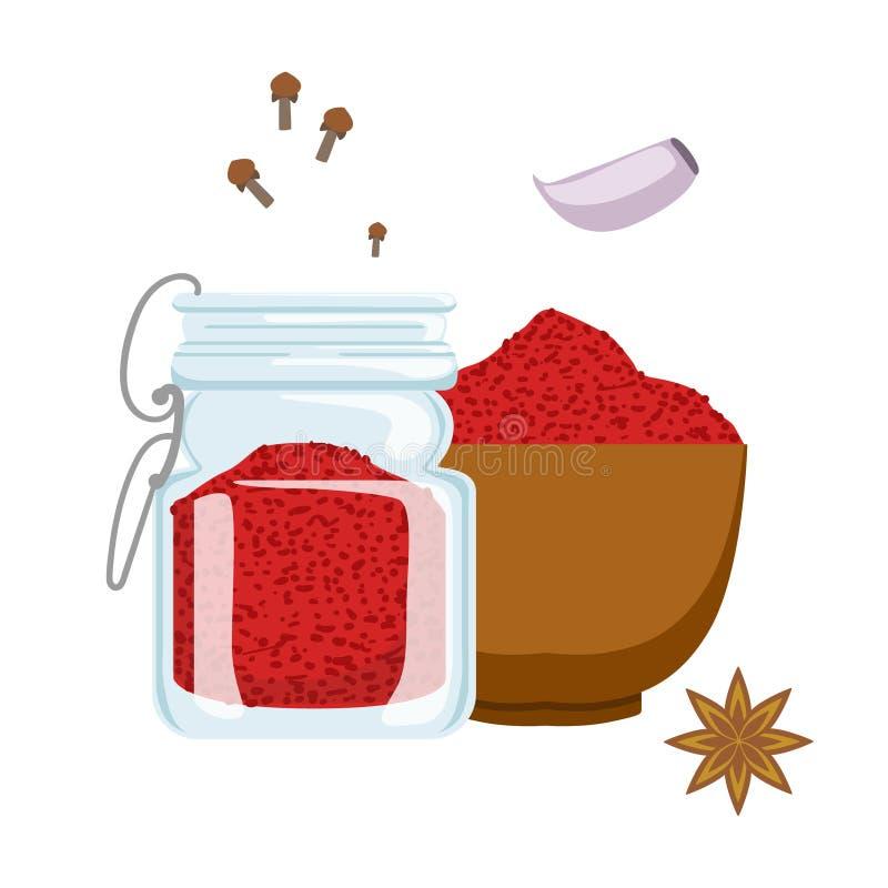 Czerwony papryka proszek w drewnianym pucharze i szklanym słoju Kolorowa kreskówki ilustracja ilustracji
