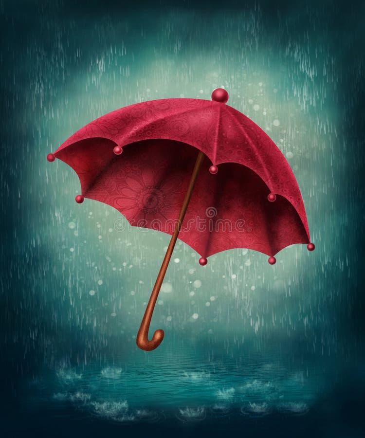czerwony parasol ilustracji