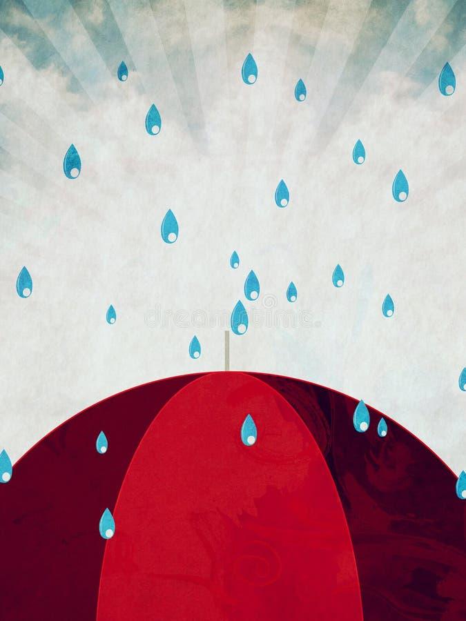 Czerwony parasol i deszcz ilustracji
