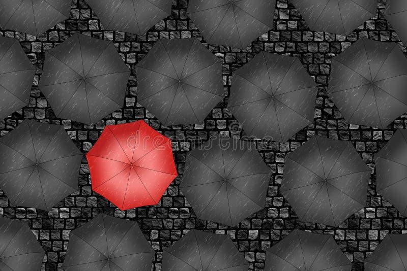 Czerwony parasol. Jaskrawy czerwony parasol wśród setu czarni parasole. ilustracji