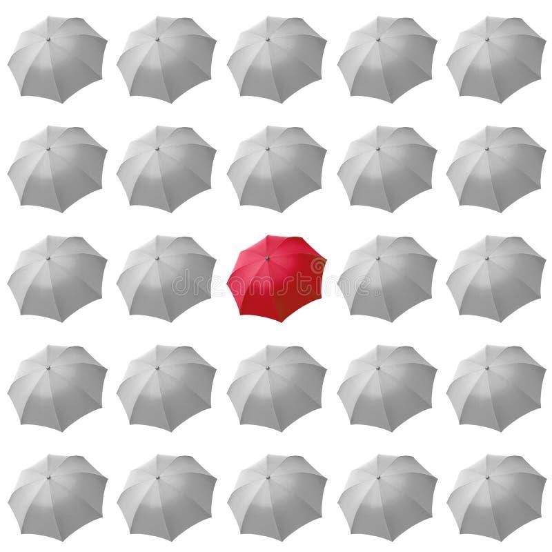 czerwony parasolowy biel fotografia stock