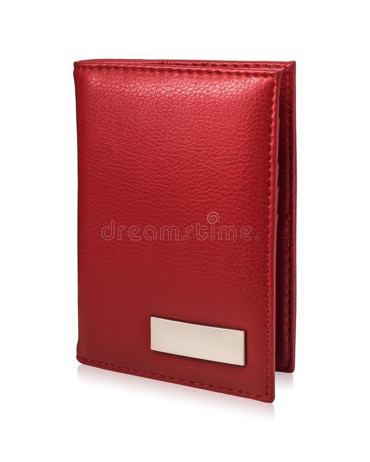 Czerwony paszportowy portfel odizolowywaj?cy na bia?ym tle Szablon rzemienna kiesa dla tw?j projekta ilustracji