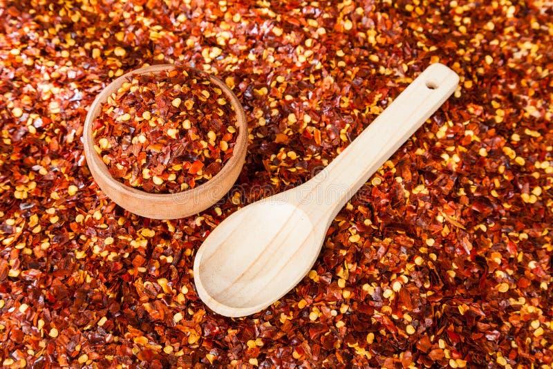 Czerwony pieprz lub Cayenne pieprz miażdżący zdjęcie stock