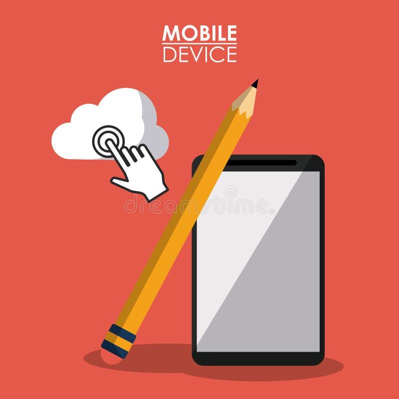 Czerwony plakatowy urządzenie przenośne z smartphone i ołówkiem ilustracji