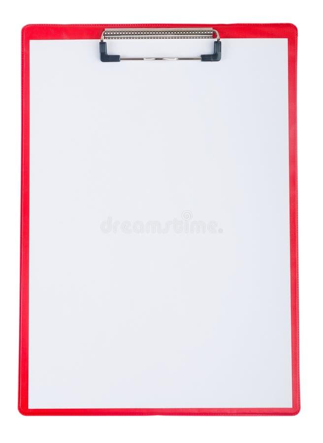 Czerwony plastikowy schowek z pustego papieru prześcieradłem obraz stock
