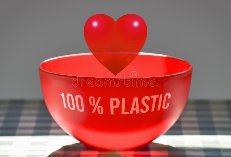 Czerwony plastikowy serce zdjęcie stock
