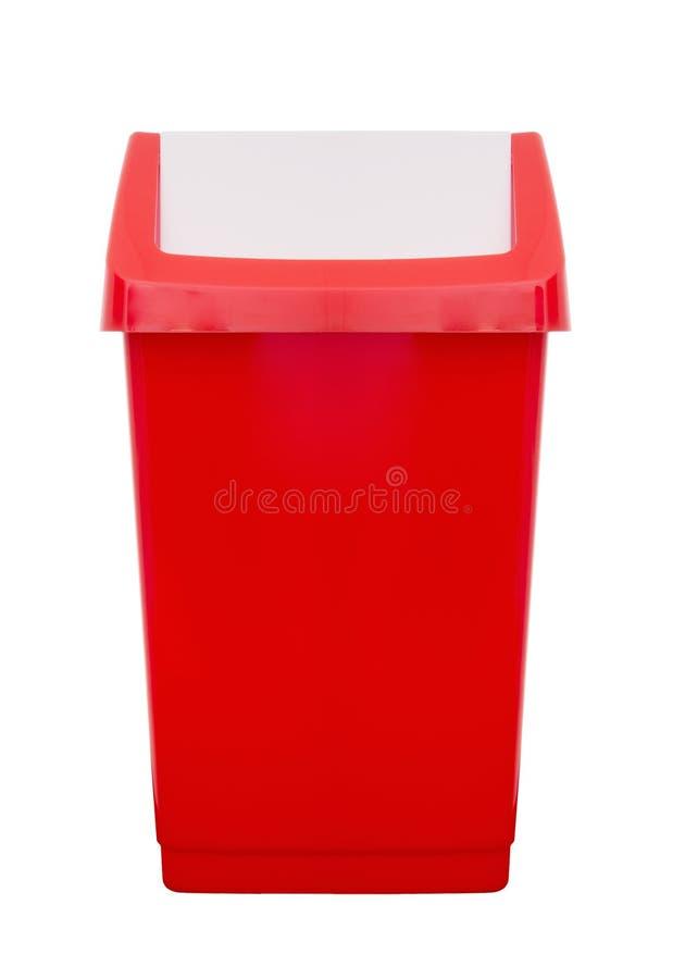 Czerwony plastikowy trzepnięcie wierzchołka kosz, kuchnia, jałowy etc zdjęcia stock