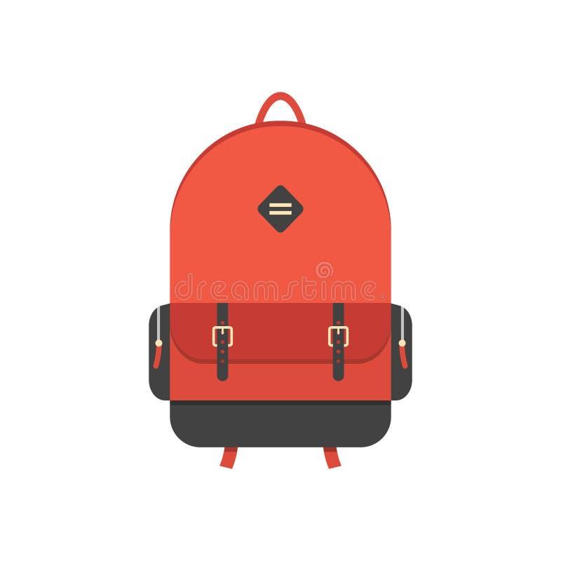 Czerwony plecak odizolowywający na białym tle royalty ilustracja