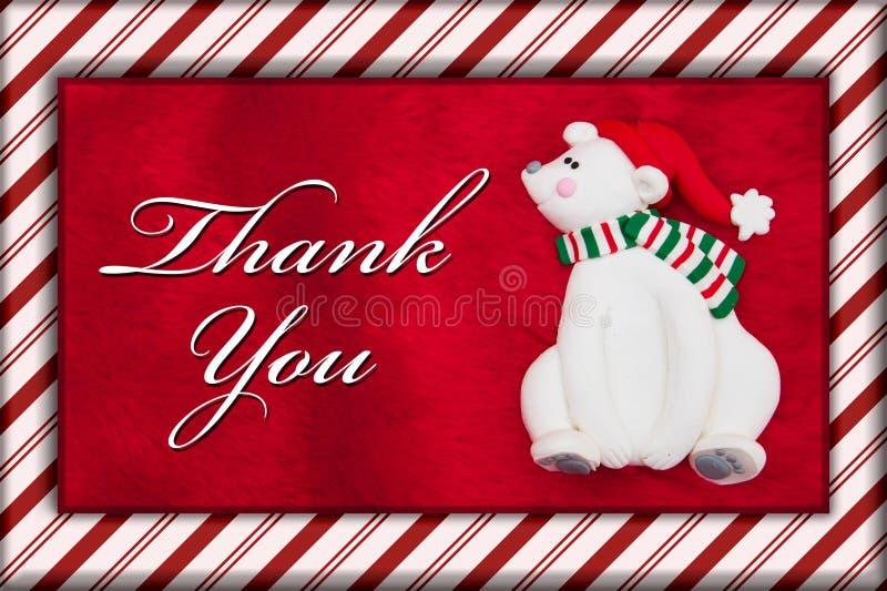 Czerwony Pluszowy futerko i boże narodzenie niedźwiedź z Dziękujemy Was wiadomość zdjęcia royalty free