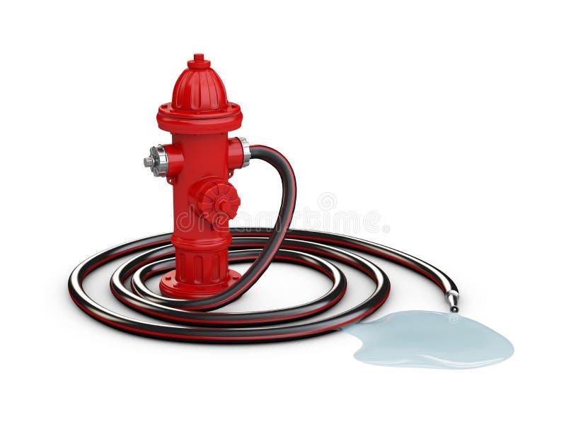 Czerwony pożarniczy hydrant i Pożarniczy wąż elastyczny, 3d ilustracja odizolowywaliśmy biel ilustracji