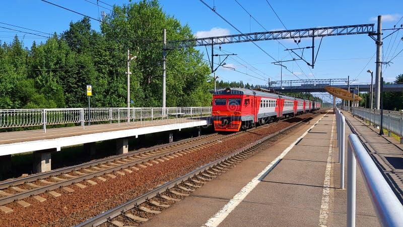 Czerwony podmiejski pociąg przyjeżdża przy stacją w lecie na słonecznym dniu Kolejowa platforma z pociągiem w drodze obraz stock