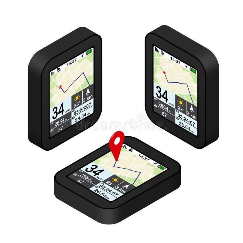 Czerwony pointer na mapie GPS nawigaci pojęcie Isometric ilustracja royalty ilustracja