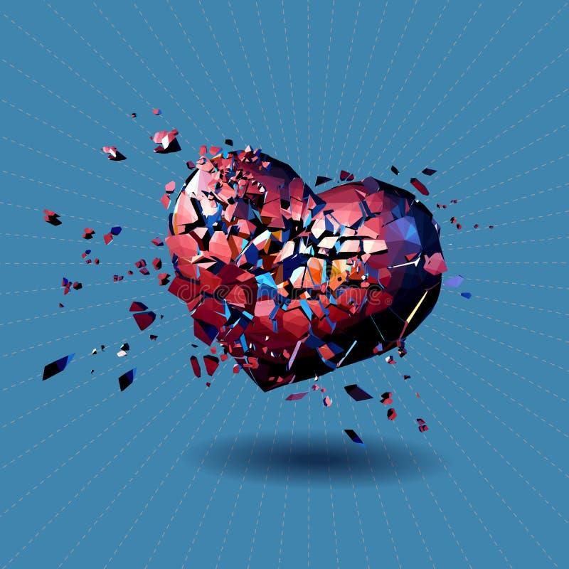 Czerwony poligonalny złamane serce na błękitnym BG ilustracji