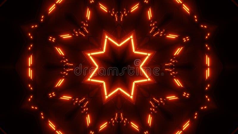 Czerwony pomarańcze gwiazdy kalaidoscope z rozjarzoną deseniową tło tapetą ilustracja wektor