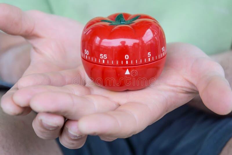Czerwony pomidorowy kuchenny zegar ustawiający (0) oba rękami z otwartymi palmami, trzymający, obraz royalty free