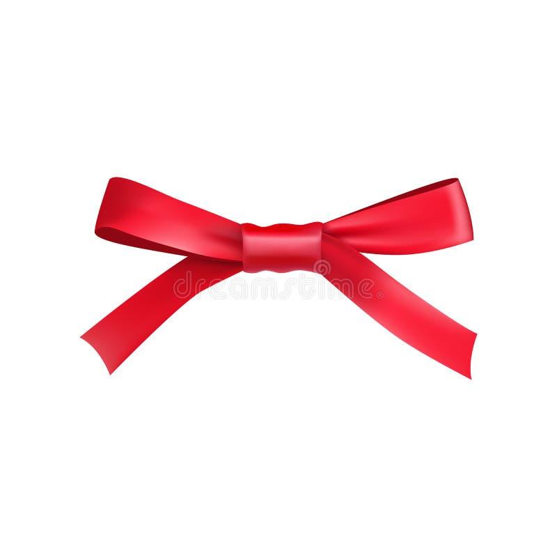 Czerwony prezenta łęk od atłas cienkiej taśmy ilustracja wektor