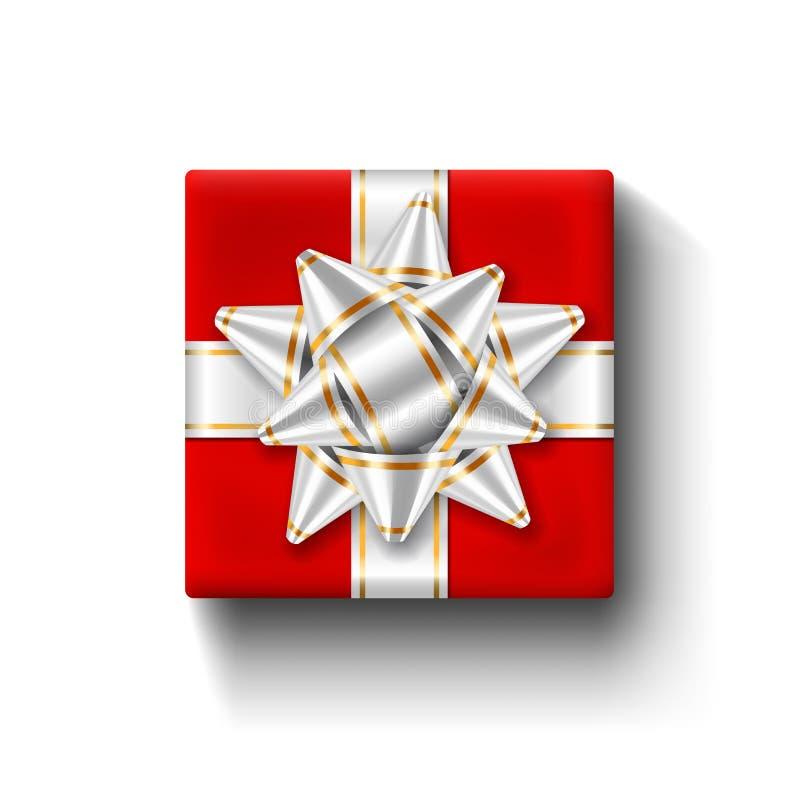 Czerwony prezenta pudełka 3d odgórny widok, odosobniony biały tło Srebny faborek na kwadratowym giftbox Teraźniejszy projekta łęk ilustracja wektor