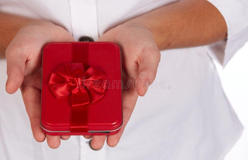 Czerwony prezenta pudełko obraz royalty free