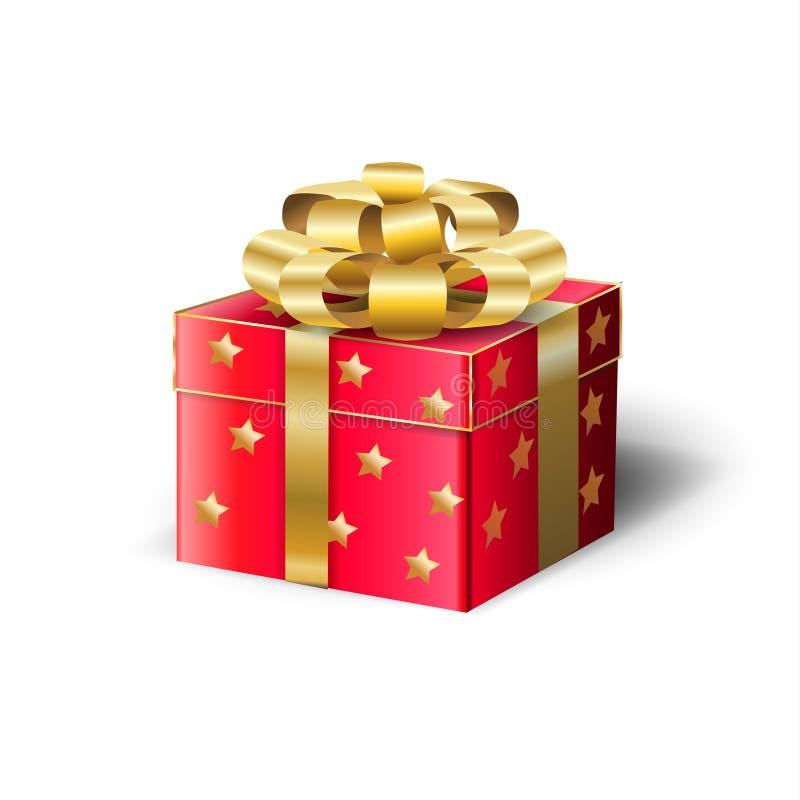 Czerwony prezenta pudełko, Złocisty atłasowy tasiemkowy Bożenarodzeniowy wakacje royalty ilustracja