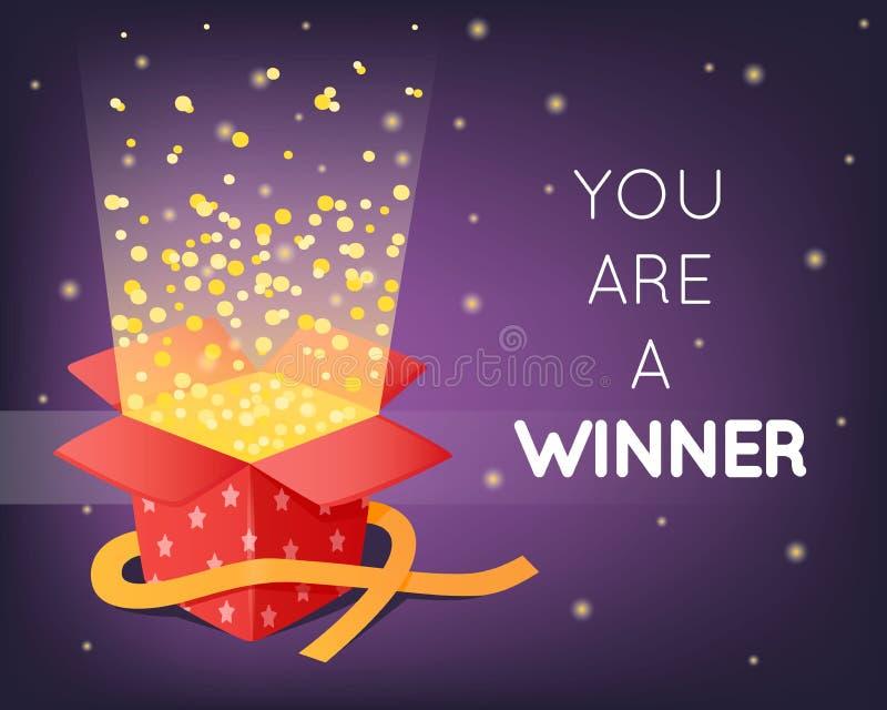 Czerwony prezenta pudełko z gwiazdami, świecidełko i confetti Rozpieczętowana niespodzianka z faborkami Partyjni wybuchy Alegat l royalty ilustracja