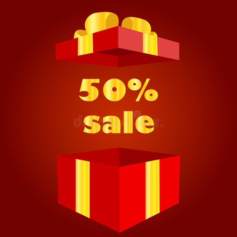 Czerwony prezenta pudełko z 50 procentów premią wśrodku ilustracji