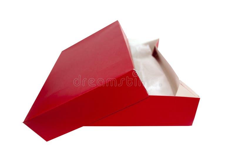 Czerwony prezenta pudełko z Tkankowym papierem zdjęcie stock