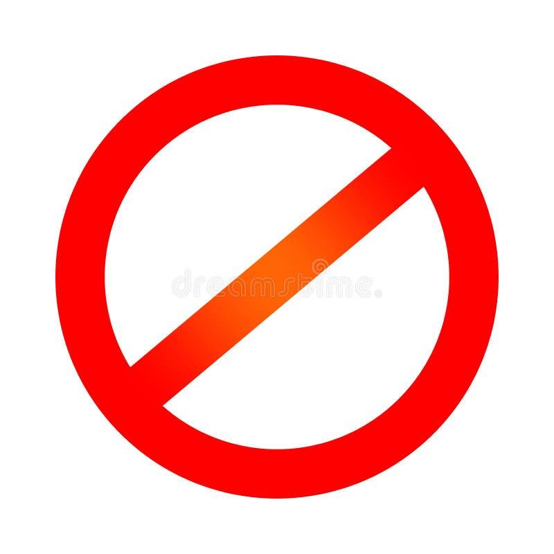 Czerwony prohibicja symbol negatywny znak Żadny szyldowa ikona odizolowywająca na białym tle ilustracja wektor